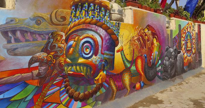 MURAL REPRESENTA LAS MILENARIAS CIVILIZACIONES EGIPCIA Y MEXICANA EN EL CAIRO